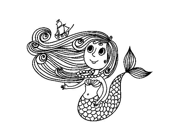 Desenho De Sereia Com Um Barco Para Colorir