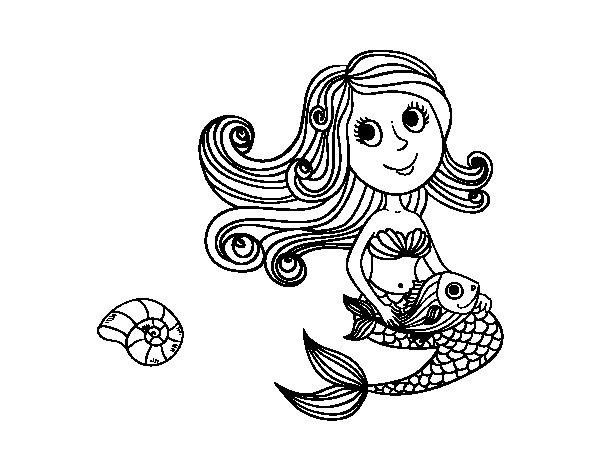 Desenho de Sereia e seu peixe para Colorir