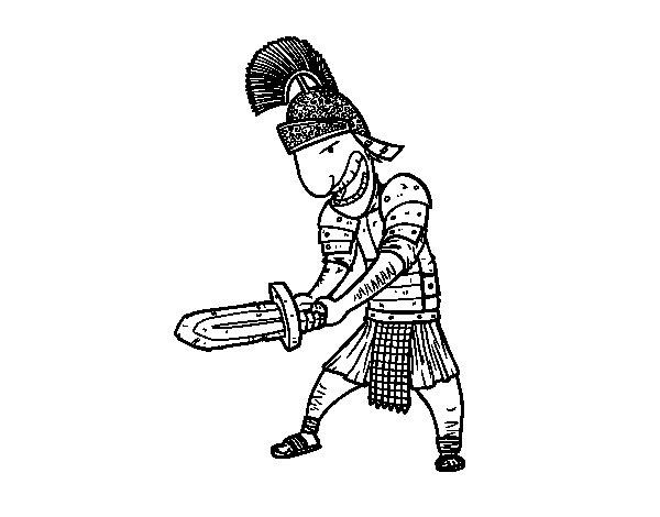 Desenho de Soldado romano com espada para Colorir
