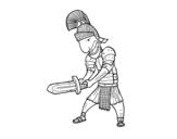 Desenho de Soldado romano com espada para colorear