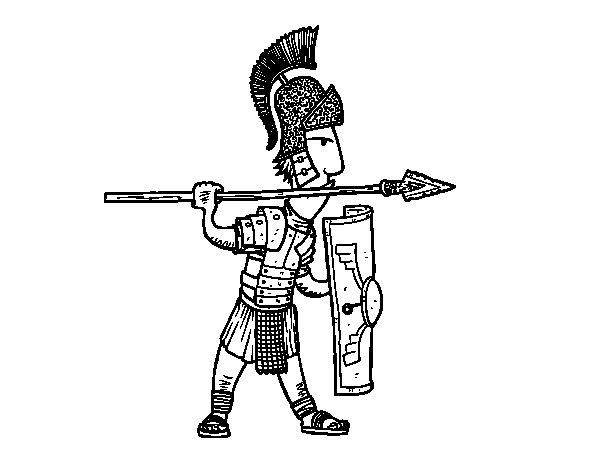Desenho de Soldado romano em defesa para Colorir