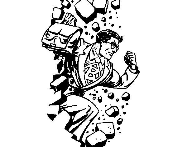 Desenho de Superhero quebrar uma parede para Colorir