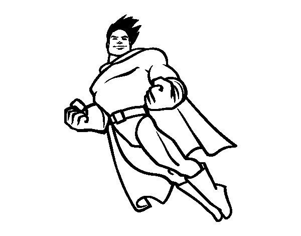 Desenho de Superman a voar para Colorir