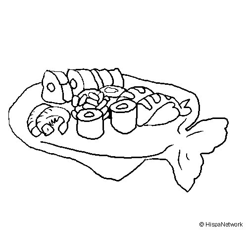 Desenho de Sushi para Colorir