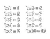 Desenho de Tabuada de Multiplicação do 1 para colorear