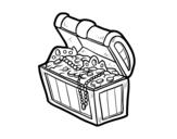 Desenho de Tesouro do pirata para colorear