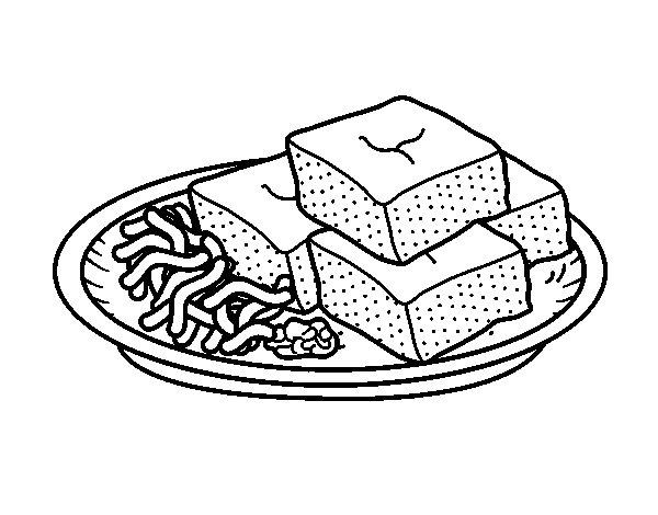 Desenho de Tofu com vegetais para Colorir