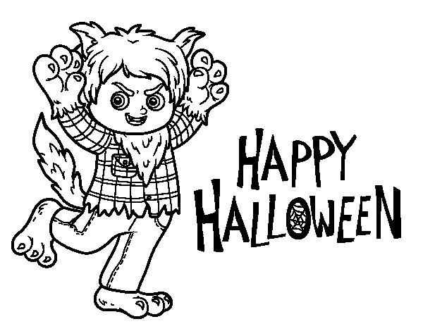 Desenho de Traje de lobo para Halloween para Colorir