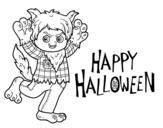 Desenho de Traje de lobo para Halloween para colorear