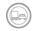 Desenho de Ultrapassar proibido para caminhões para colorear
