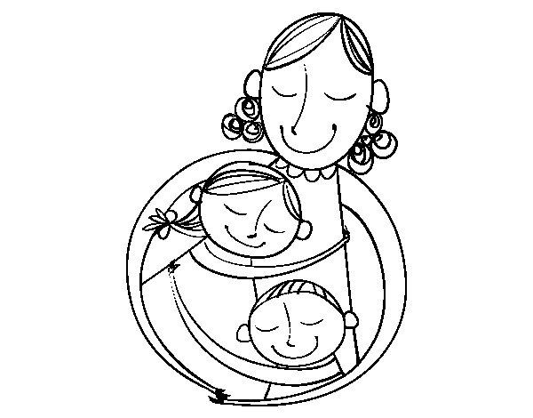 Desenho de Um abraço para a mãe para Colorir