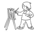 Desenho de Um artista para colorear