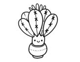 Desenho de Um cacto com flor para colorear