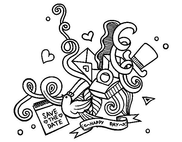 Desenho de Um colagem do casamento para Colorir