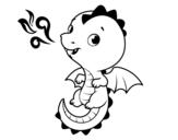 Desenho de Um dragão bebê para colorear