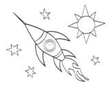 Desenho de Um foguete aeroespacial para colorear