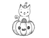 Desenho de Um gatinho do dia das bruxas para colorear
