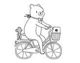 Desenho de Um urso in bicicleta para colorear