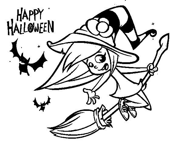 Desenho de Uma bruxa do Dia das bruxas para Colorir