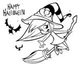 Desenho de Uma bruxa do Dia das bruxas para colorear