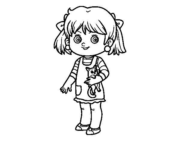 Desenho de Uma menina com gatito para Colorir