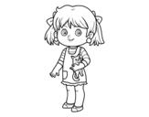 Desenho de Uma menina com gatito para colorear