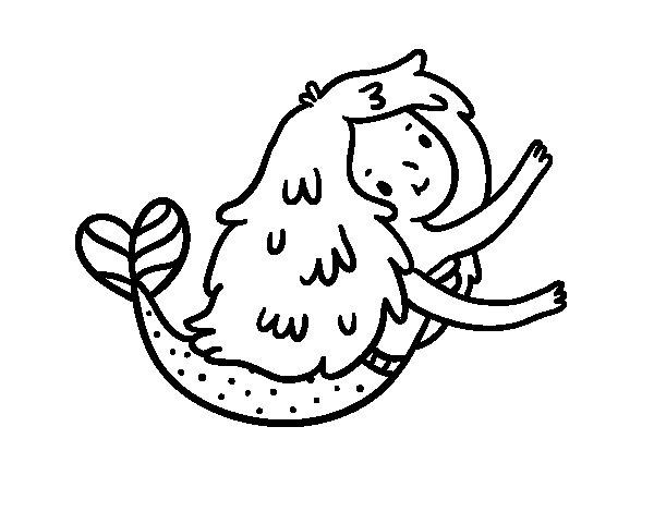 Desenho de Uma pequena sereia para Colorir
