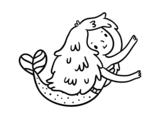 Desenho de Uma pequena sereia para colorear