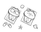 Desenho de Ursitos a tomar el sol para colorear