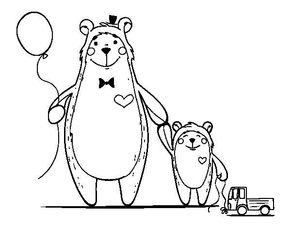 Desenho de Urso e ursinho para Colorir