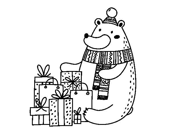 Desenho de Urso ter presentes de Natal para Colorir