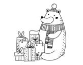 Desenho de Urso ter presentes de Natal para colorear