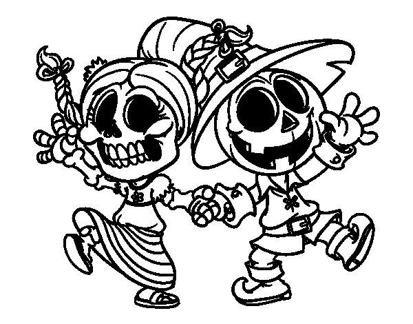 Desenho de Vandinha e Jack-o-lantern para Colorir