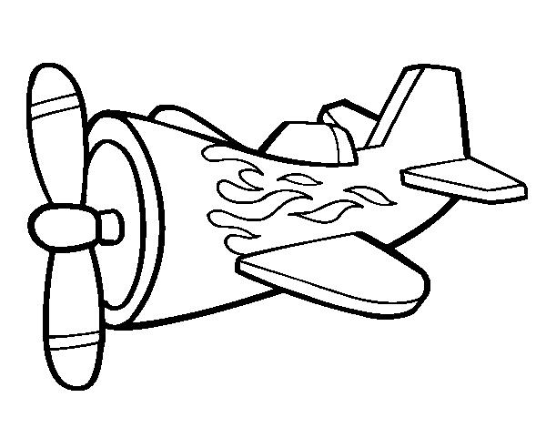 desenho de avião em chamas para colorir colorir com