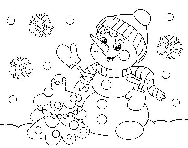 Desenho De Boneco De Neve Do Cartao De Natal Para Colorir