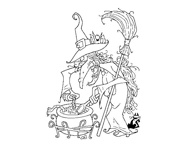 Desenho De Bruxa Com Poção Para Colorir