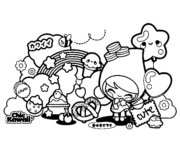 desenho de collage kawaii para colorir colorir com