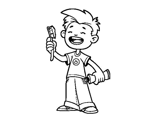 Desenho De Crianca Com Escova De Dentes Para Colorir Colorir Com