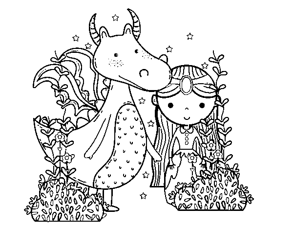 Desenho De Dragão E Princesa Para Colorir