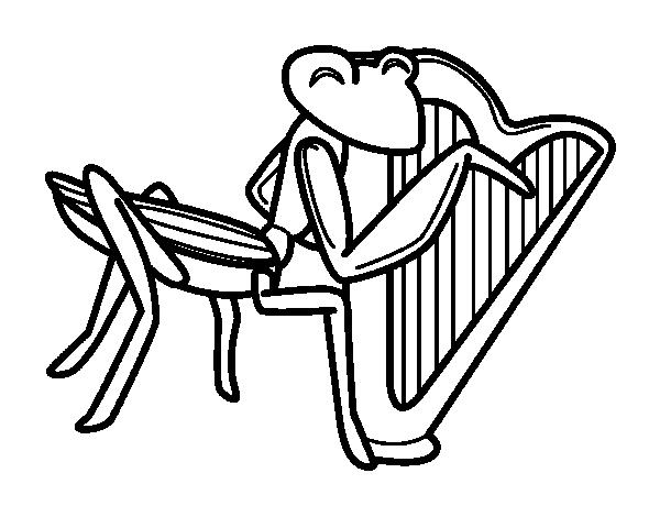 desenho de gafanhoto com harpa para colorir colorir com