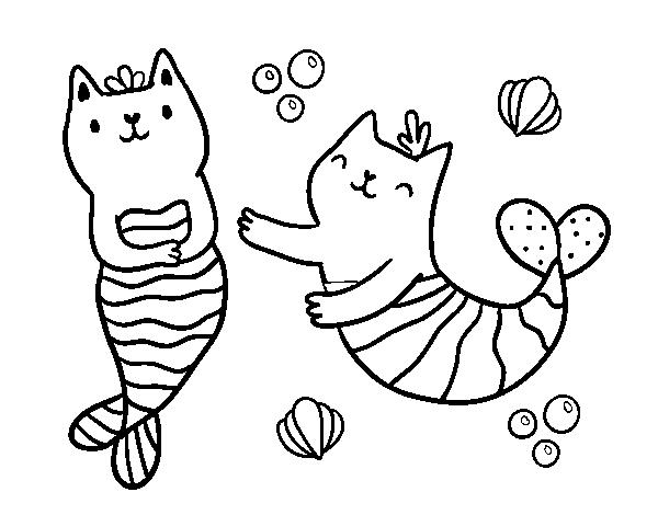 desenho de gatos da sereia para colorir colorir com