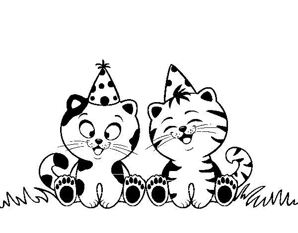 Desenho De Gatos De Aniversário Para Colorir