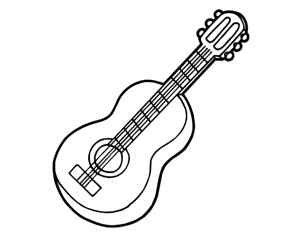 desenho de guitarra clássica para colorir colorir com