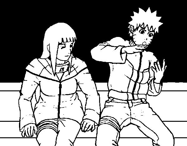 desenho de hinata e naruto para colorir colorir com
