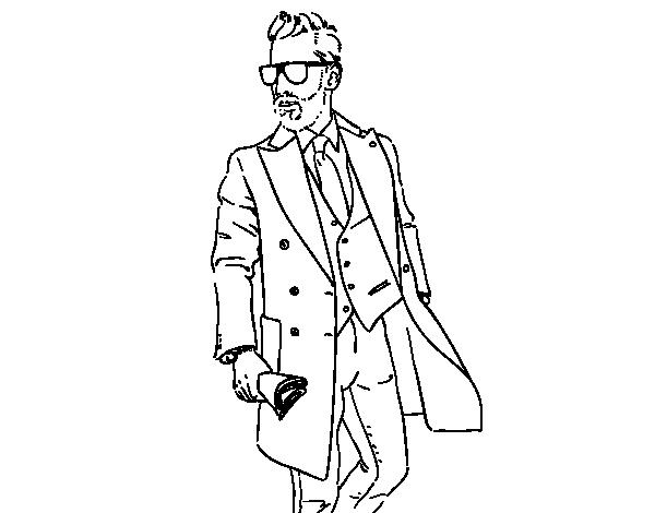 desenho de homem no terno para colorir colorir com