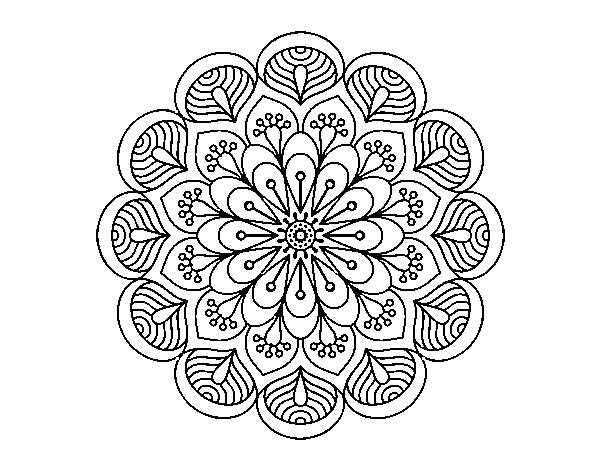 Desenho De Mandala Flor E Folhas Para Colorir