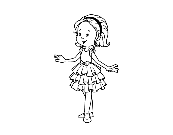 desenho de menina com vestido de baile para colorir colorir com