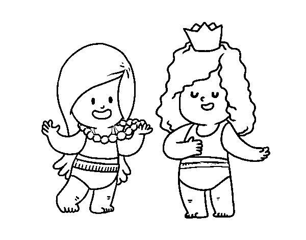 Desenho De Meninas Que Jogam Para Colorir