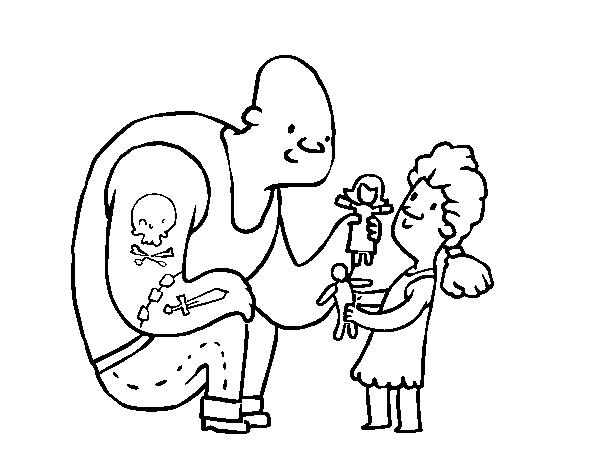 Desenho De Pai Com Tatuagens Para Colorir
