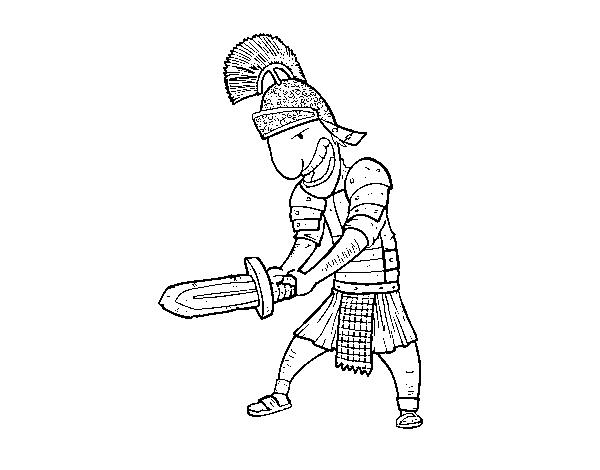desenho de soldado romano com espada para colorir colorir com